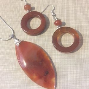 Jewelry - I ❤️ U Marked SS925 Genuine Orange Agate Set